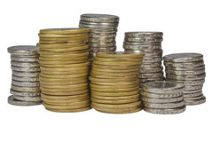Stapel der brasilianischen Münzen Stockbilder
