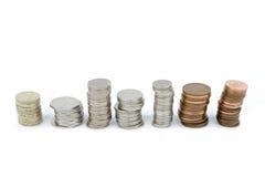 Stapel der britischen Münzen Stockbild