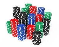 Stapel der bunten Poker-Kasino-Chips Wiedergabe 3d Stockfoto