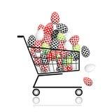 Stapel der Eier im Einkaufswagen für Ihre Auslegung Stockbilder