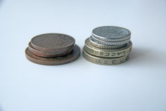2 Stapel der englischen Münzen Lizenzfreie Stockbilder