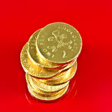 Stapel der englischen Pennys Stockfotografie