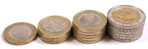 Stapel der Euromünzen Lizenzfreies Stockfoto