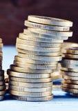 Stapel der Euromünzen Stockfoto