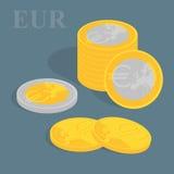 Stapel der Euromünzen Auch im corel abgehobenen Betrag Stockbild