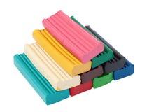 Stapel der farbigen Plasticineziegelsteine Stockfotografie