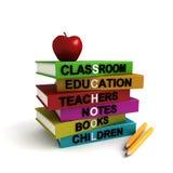 Stapel der farbigen Schulebücher Lizenzfreie Stockfotos