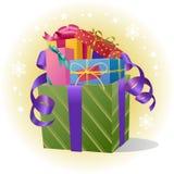 Stapel der Geschenk-Kästen mit Farbband Lizenzfreie Stockfotos