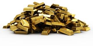 Stapel der Goldstäbe Stockfoto