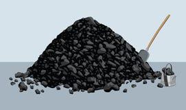 Stapel der Kohle mit Schaufel und Eimer stockbilder