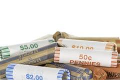 Stapel der Münze Rolls Lizenzfreies Stockbild