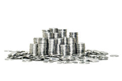 Stapel der Münzen isoliert auf weißem Hintergrund Lizenzfreie Stockfotografie