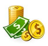 Stapel der Münzen mit Dollar Stockfotografie