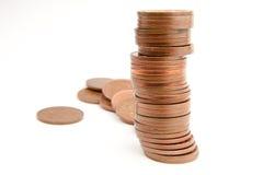 Stapel der Münzen mit mehr nach Lizenzfreies Stockbild