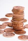 Stapel der Pennys Stockbild
