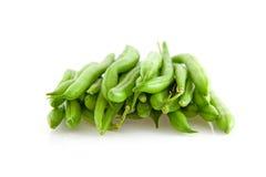 Stapel der rohen grünen Bohnen Stockfoto