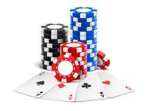 Stapel der Spielkarten nahe des Kasinos 3d bricht ab vektor abbildung
