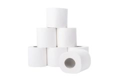 Stapel der Toilettenpapierrollen Stockfoto