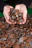 Stapel der US-Münzen Lizenzfreie Stockfotos