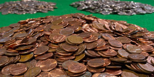 Stapel der US-Münzen Stockfoto