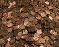 Stapel der US-Pennys Stockfoto
