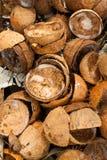Stapel der verworfenen Kokosnusshülsen lizenzfreie stockbilder