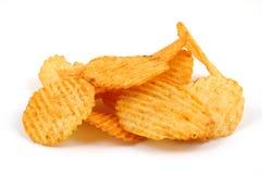 Stapel der würzigen Kartoffelchips Stockbilder