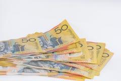 Stapel des Australiers fünfzig Dollar-Banknoten Lizenzfreies Stockfoto