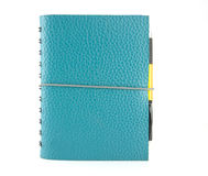 Stapel des blauen ledernen Notizbuches der Ringmappe lizenzfreies stockbild