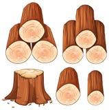 Stapel des Brennholz- und Stumpfbaums stock abbildung