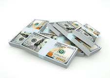 Stapel des Dollargeldes lokalisiert auf weißem Hintergrund lizenzfreie abbildung