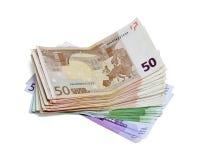Stapel des Eurobanknotengeldes Stockbilder