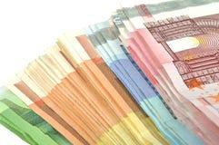 Stapel des Eurogeldes Stockbild