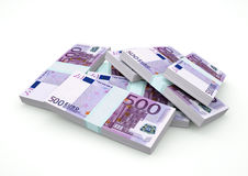 Stapel des Eurogeldes lokalisiert auf weißem Hintergrund lizenzfreie abbildung