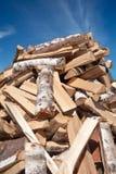 Stapel des gehackten Baumstammes Stockfotos