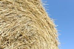 Stapel des Heu Strohballens auf dem Feld nach Ernte Lizenzfreie Stockfotografie