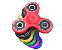 Stapel des Milticolour-Unruhe-Finger-Spinner-Antistress Spielzeugs auf einem weißen Hintergrund Wiedergabe 3d Lizenzfreies Stockbild