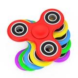 Stapel des Milticolour-Unruhe-Finger-Spinner-Antistress Spielzeugs 3D r Stockbild
