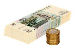 Stapel des russischen Geldes stockbilder