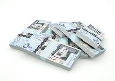 Stapel des saudischen Geldes lokalisiert auf weißem Hintergrund stock abbildung