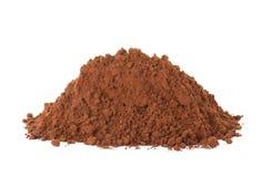 Stapel des Schokoladenproteinpulvers auf Weiß lizenzfreie stockbilder