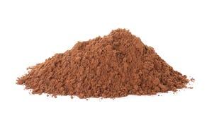 Stapel des Schokoladenproteinpulvers auf Weiß stockbild
