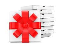 Stapel des weißen leeren Papppizza Boxesnear-Pizza-Kastens mit Re Lizenzfreie Stockfotografie