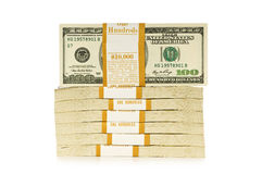 Stapel Dollar getrennt stockfoto