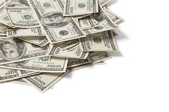 Stapel dollars op witte achtergrond Royalty-vrije Stock Foto
