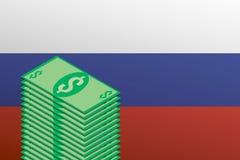 Stapel Dollarscheine auf dem Hintergrund der russischen Flagge lizenzfreie abbildung
