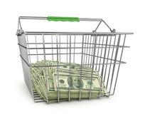 Stapel Dollarscheine im Einkaufskorb lizenzfreie abbildung