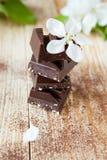 Stapel donkere chocoladestukken met noten Royalty-vrije Stock Fotografie