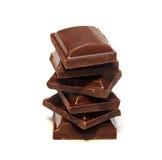 Stapel Donkere Stukken van de Chocolade Stock Fotografie