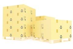 Stapel dozen van de kartonlevering voor pakketten op pallet De achtergrond van het pakhuisconcept het 3d teruggeven Stock Afbeeldingen